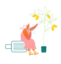 senior lady sitting on suitcase under lemon tree vector image