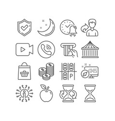 set coins online buying and parking place icons vector image