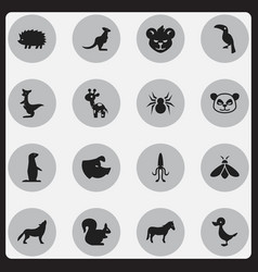 set of 16 editable nature icons includes symbols vector image