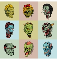 Set of nine drawn image with the zombie vector