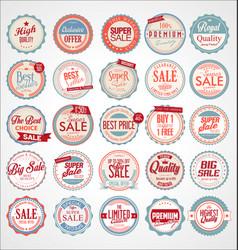 set retro vintage colorful labels and badges vector image
