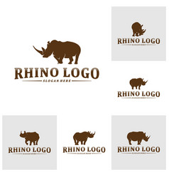 set rhino logo design template rhino vector image