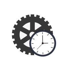 Single gear and clock icon vector
