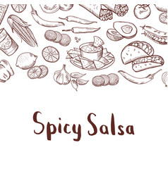 Sketched mexican food elements background vector