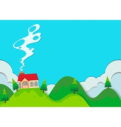 Small house on the hill vector image