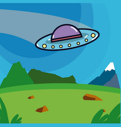 spaceship taking off from planet vector image