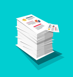 Stack of paper business documents with graphs and vector