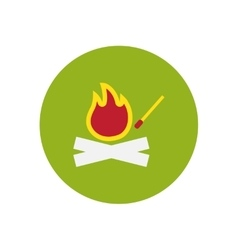 Stylish icon in circle fire and match vector