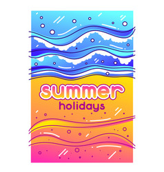 summer holidays sea surf on sandy beach stylized vector image
