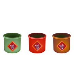 Three Brass Joss Stick Pots on White Background vector
