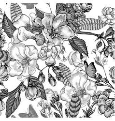 Vintage garden spring seamless pattern vector