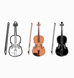 violin instrument cartoon music graphic vector image