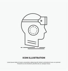 Vr googles headset reality virtual icon line gray vector