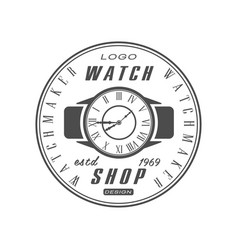 Watch shop estd 1969 logo design watchmaker badge vector