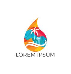 Water drop travel agency logo design vector