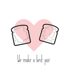 we make a best pair toasts in heart vector image