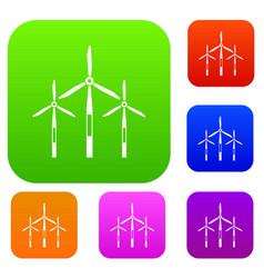 Wind generator turbines set color collection vector