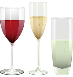 wine champagne and water glasses on a white backgr vector image