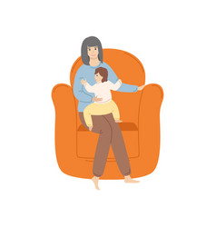 Woman sitting on armchair with toddler kid vector