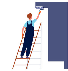 worker painting wall home repair service man in vector image