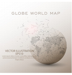 world map globe low poly wire frame vector image