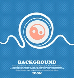 Ying yang sign icon Blue and white abstract vector image