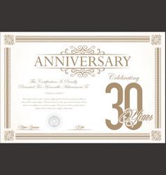 anniversary retro vintage background 30 years vector image vector image