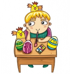 Easter kid vector image vector image