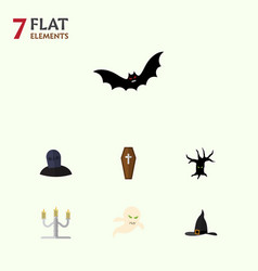 flat icon festival set of candlestick witch cap vector image vector image