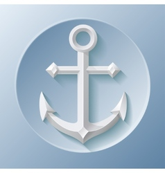 Nice anchor icon with shadow on blue vector