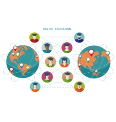 Online learning Conceptual banner People flat icon vector image vector image