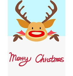red nosed reindeer christmas card with handwritten vector image vector image