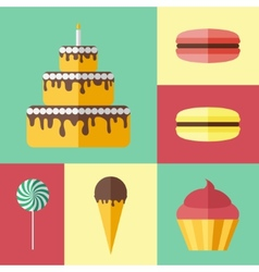 Set of flat icons with different sweets vector image