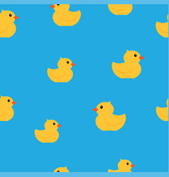 yellow rubber ducks seamless pattern vector image