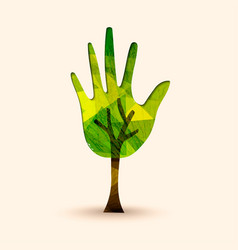 hand tree green environment help vector image vector image