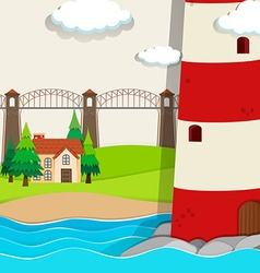 Nature scene with lightwave and house by the beach vector image