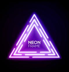 purple neon light triangles shining techno frame vector image vector image
