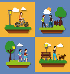 set people various activities couple runner vector image