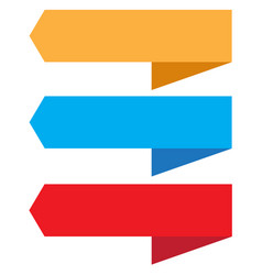 three ribbon banner on white background three vector image