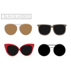 a set of four sunglasses summer time vector image