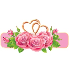 Banner with roses and hearts vector image vector image