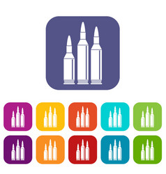 Bullet ammunition icons set vector