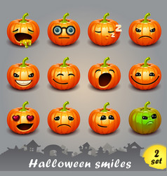 Halloween smiles-set 2 vector
