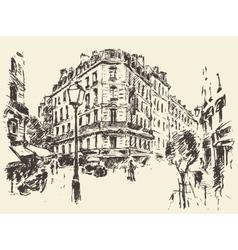 Streets paris france vintage drawn vector