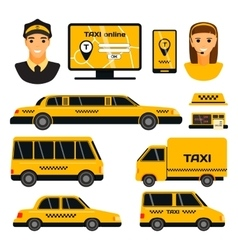 Taxi transport set vector image