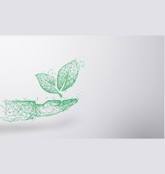 abstract plant on hand form lines and triangles vector image vector image
