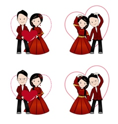 Chinese wedding cartoon in traditional dress vector image