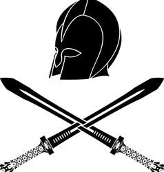 fantasy barbarian helmet with swords vector image