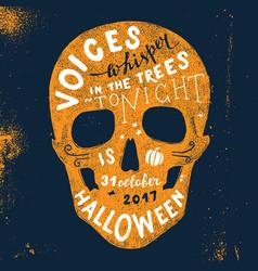halloween lettering in skull silhouette vector image