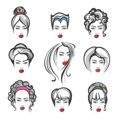 hand drawn hair style set vector image